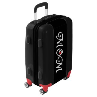Mom with a red heart carry-on luggage