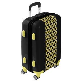 Black, white and yellow polka dots luggage