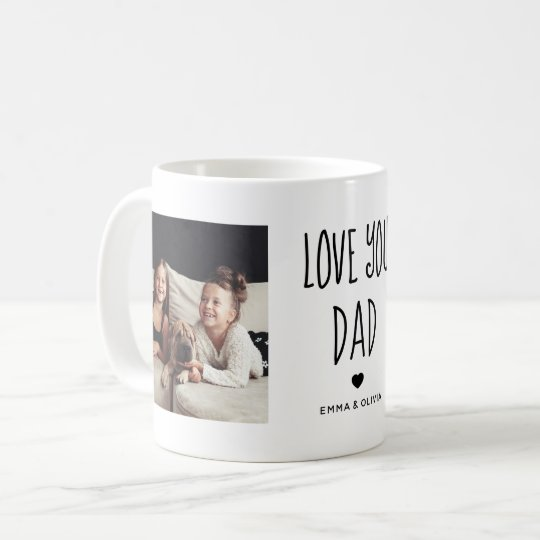 Love You Dad | Two Photo Handwritten Text Coffee Mug