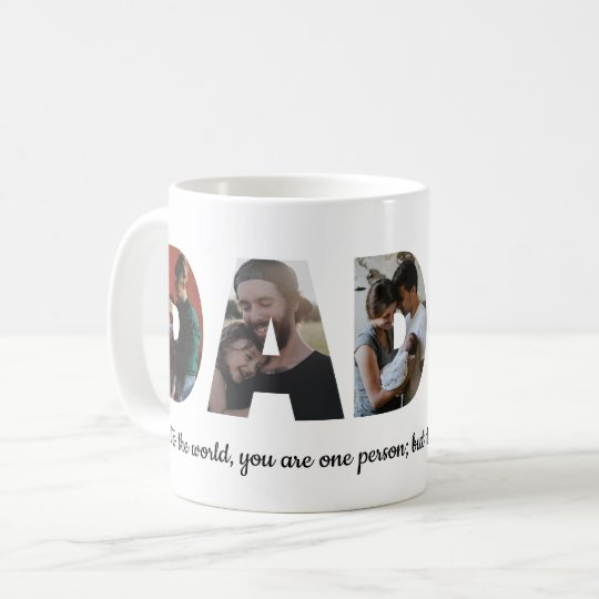 Personalized Daddy 5 Photo Collage Father's Day Coffee Mug