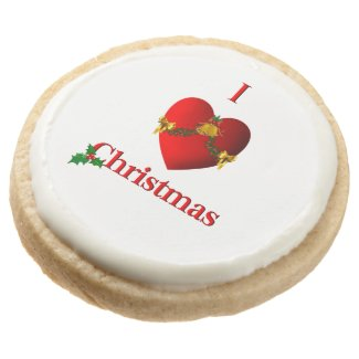I Heart Christmas Round Shortbread Cookie