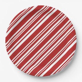 Festive Peppermint Stripe Pattern Paper Plates