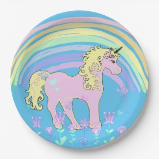 Unicorn Fairy tale Birthday Party Plates