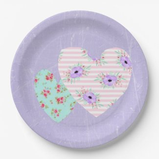 Shabby Chic Themed Floral Pink Purple Party Plates