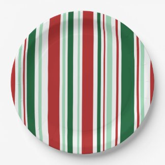 Stylish Christmas Party Red, Green, White Stripes Paper Plate