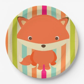 Cute Woodlands Creature Fox Party Plate