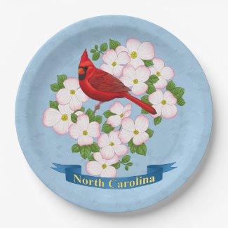 North Carolina State Cardinal Bird Dogwood Flower Paper Plate
