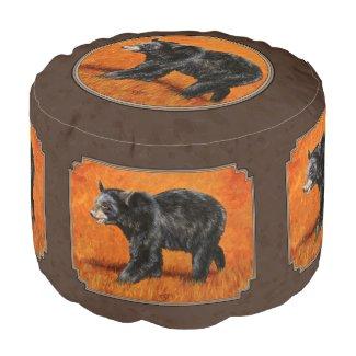 Black Bear Autumn Earth Brown Pouf