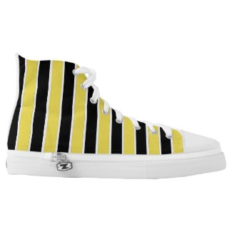 Black, white and yellow striped high tops printed shoes