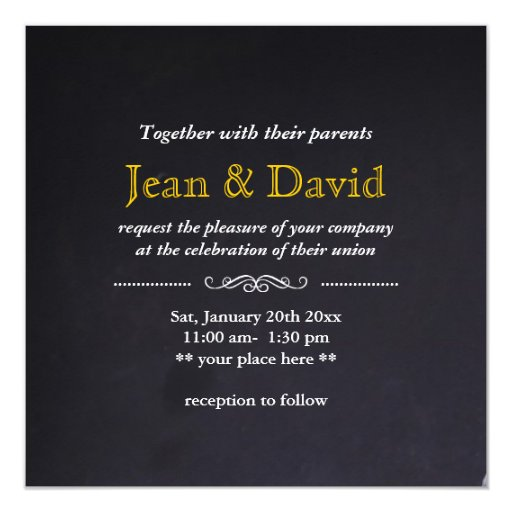 "Yes,We Do! Blue Jeans Wedding Invitation 5.25"" Square Invitation Card (back side)"