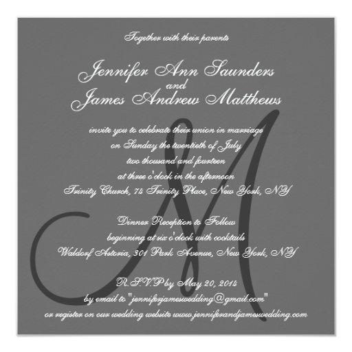 "Elegant Wedding Invitations Monogram Names Grey 5.25"" Square Invitation Card (back side)"