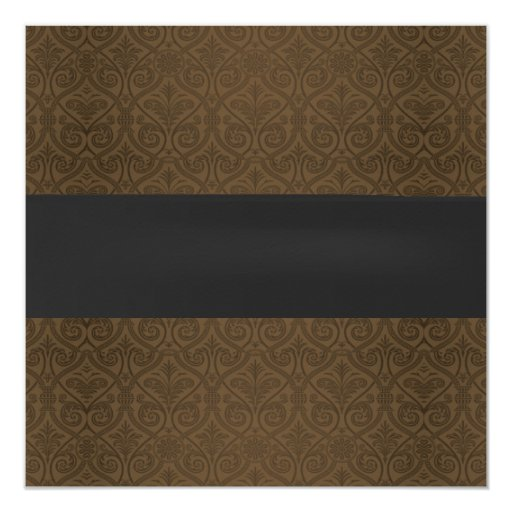 Formal Black Ribbon Brown Damask Retirement Party 5.25x5.25 Square Paper Invitation Card (back side)
