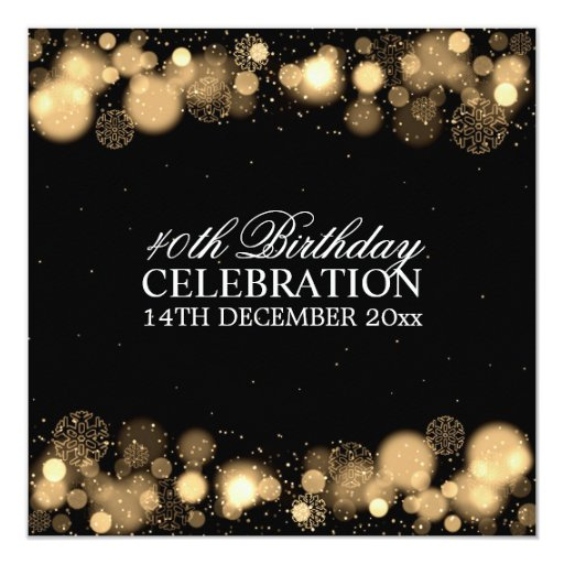 Elegant Winter 40th Birthday Party Gold 5.25x5.25 Square Paper Invitation Card (back side)