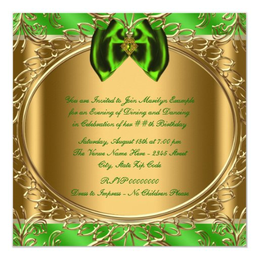 Elegant Emerald Green and Gold Birthday Party 5.25x5.25 Square Paper Invitation Card (back side)