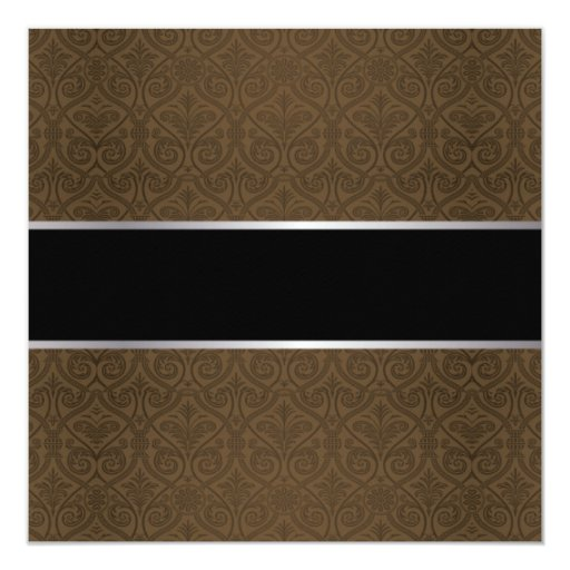 """Classy Brown Damask Retirement Party Invitations 5.25"""" Square Invitation Card (back side)"""