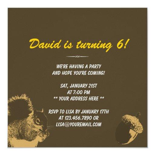 "Cute Squirrel & Nuts 6th Birthday Party Invitation 5.25"" Square Invitation Card (back side)"