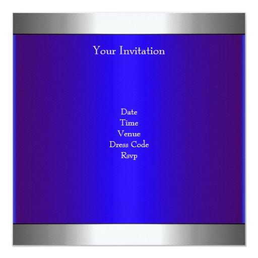 Elegant Photo Blue Silver Balloon 21st Birthday 5.25x5.25 Square Paper Invitation Card (back side)