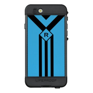 Black Stripes Chevrons, Monogram on Bright Blue LifeProof® NÜÜD® iPhone 6s Case