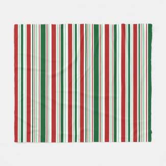 Modern Red, Mint Green, Dark Green, White Stripes Fleece Blanket