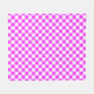 Hot Pink and White Buffalo Plaid Fleece Blanket
