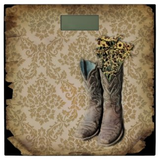 vintage damask cowboy boots western country bathroom scale
