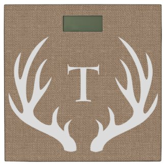 Country Burlap White Buck Antlers Personalized Bathroom Scale