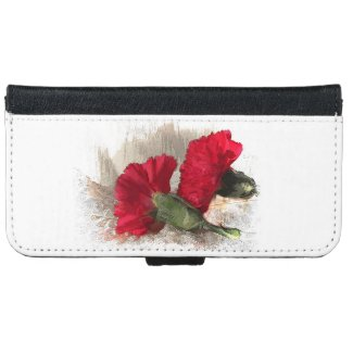 Red Carnations on Brocade iPhone 6 Wallet Case