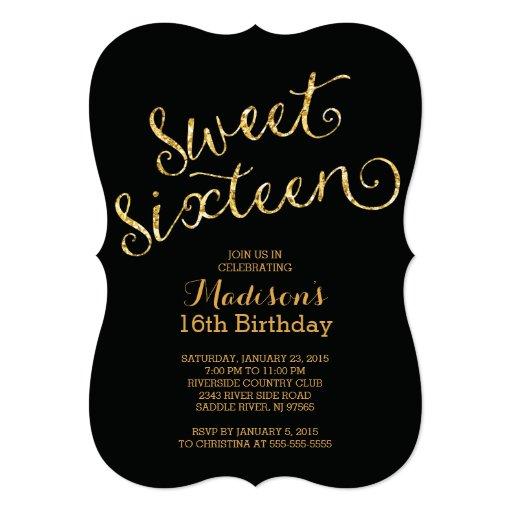 Modern Gold Glitter Sweet Sixteen Birthday Party 5x7 Paper Invitation Card