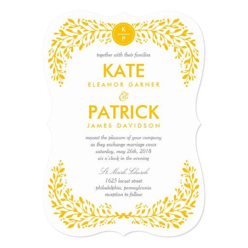 Blissful Laurel EDITABLE COLOR Wedding Invitation