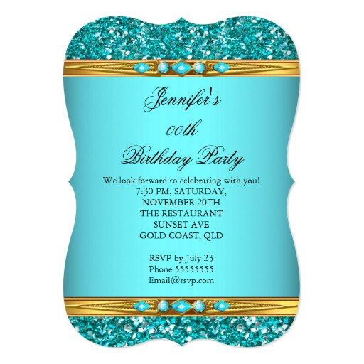 Elegant Teal Glitter Gold Diamond Birthday Party 2 5x7 Paper Invitation Card
