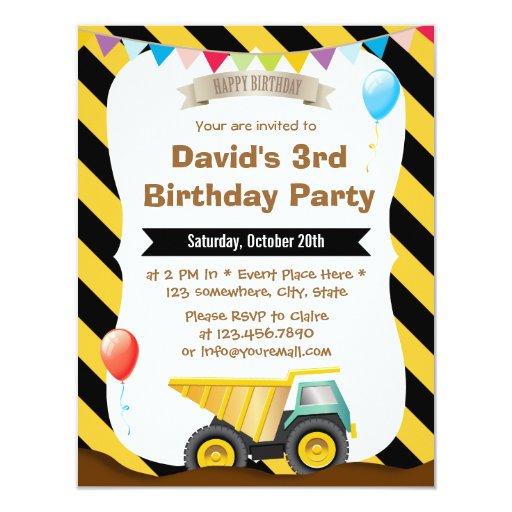 """Boys Construction Birthday Party Invitations 4.25"""" X 5.5"""" Invitation Card"""