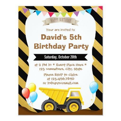 "Boys Construction Truck Birthday Party Invitations 4.25"" X 5.5"" Invitation ..."