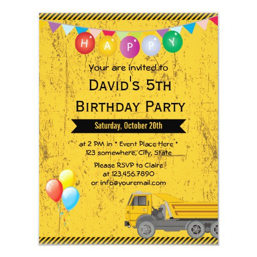 Balloons & Truck Construction Birthday Party 4.25x5.5 Paper Invitation Card