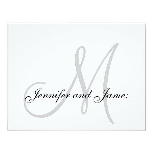 "Elegant Grey Gray Monogram Wedding RSVP Card 4.25"" X 5.5"" Invitation Card"