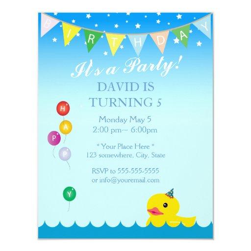 Elegant Stars & Rubber Duck Blue Birthday 4.25x5.5 Paper Invitation Card (front side)