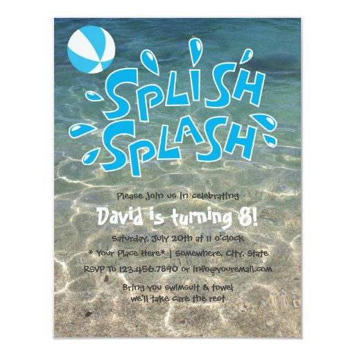 Boys Summer Splash Pool Party Birthday 4.25x5.5 Paper Invitation Card