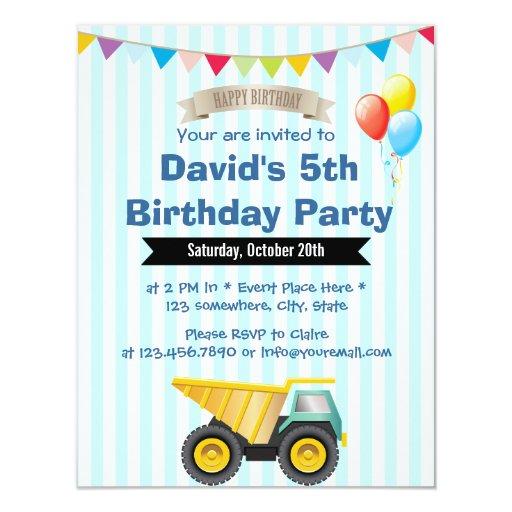 Baby Blue Stripes Boy Construction Birthday Party 4.25x5.5 Paper Invitation Card