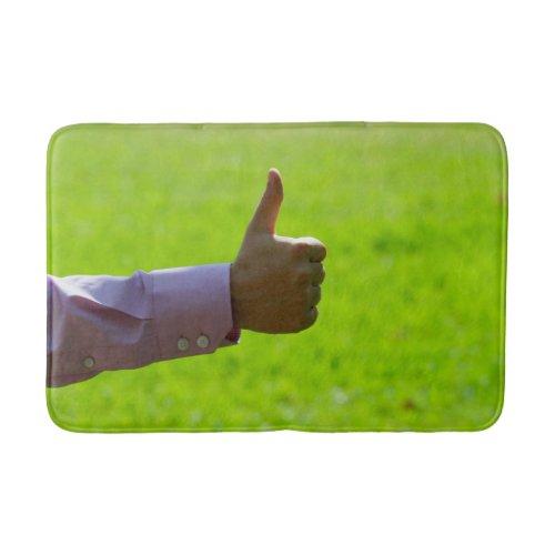 Green Bathroom Mat with Thumb Up Photo