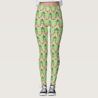 Candy Cane Green Christmas Leggings