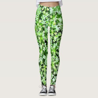 Green and White Garden Flowers Floral Leggings