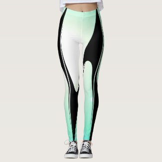Ombre Turquoise Modern Tech Chic Fashion Sports Leggings