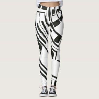Geometric Black White Abstract Pattern Leggings