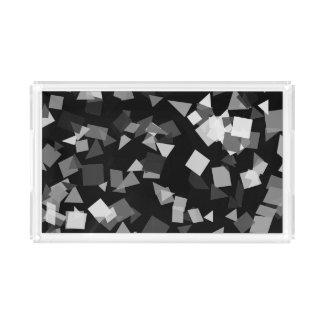 Black and White Confetti Serving Tray