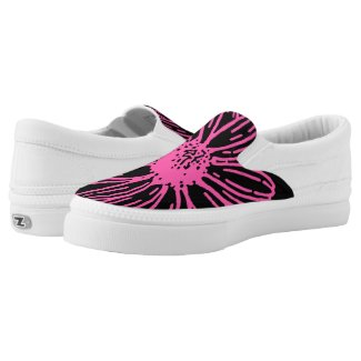 Bold Pink Flower on Black Printed Shoes