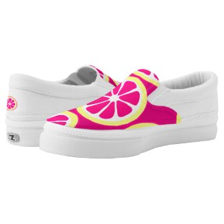 Hot Pink Yellow Citrus Slices Printed Shoes