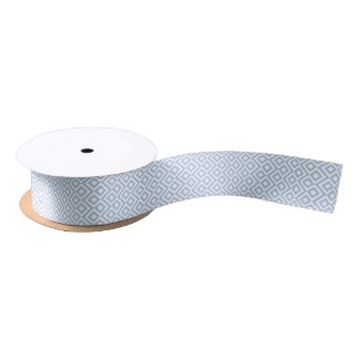 Light Blue and White Meander Satin Ribbon