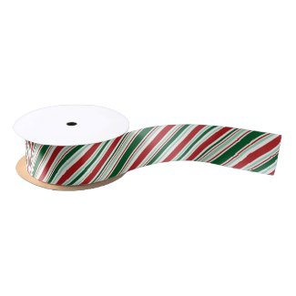 Modern Red, Green, White Christmas Candy Stripes Satin Ribbon