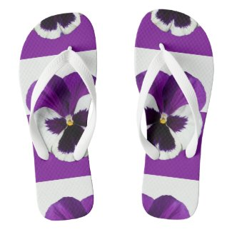 Purple and White Pansy Flip Flops
