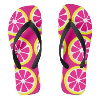 Hot Pink Yellow Citrus Slices Flip Flops