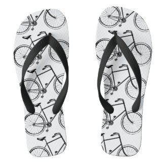 Bicycle Pattern Flip Flops